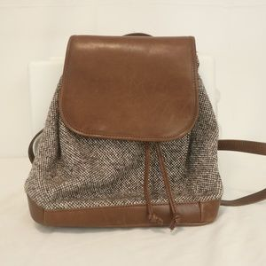 L.L. Bean Women's Tweed Leather Backpack Handbag